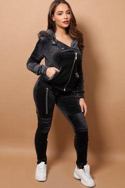Dark Grey Velour Faux Fur Hood Biker Jacket 2 Piece Tracksuit - SinglePrice