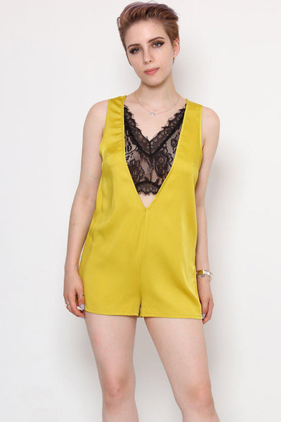 Black Lace V-Neck Lime Satin Playsuit-SinglePrice
