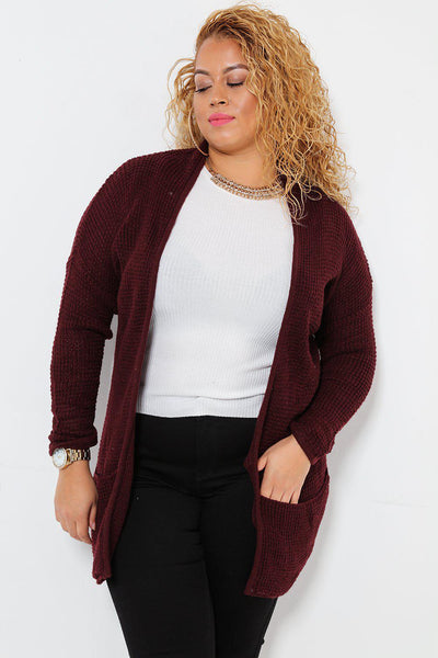 Raw Waffle Knit Open Front Dark Red Cardigan-SinglePrice