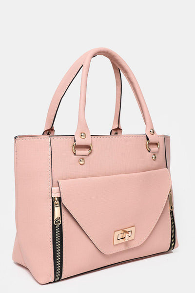 Large Flap Pocket To Front Pink Tote Bag-SinglePrice