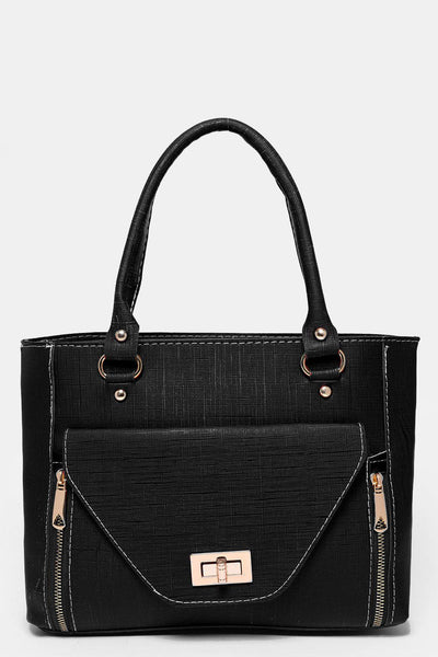 Large Flap Pocket To Front Black Tote Bag-SinglePrice