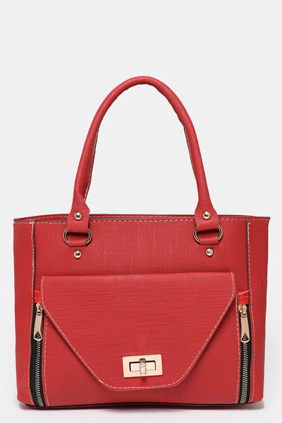 Large Flap Pocket To Front Red Tote Bag-SinglePrice