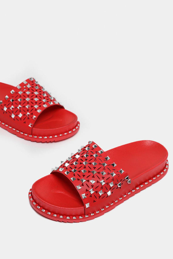 Red Studded Laser Cut Wedge Sliders-SinglePrice
