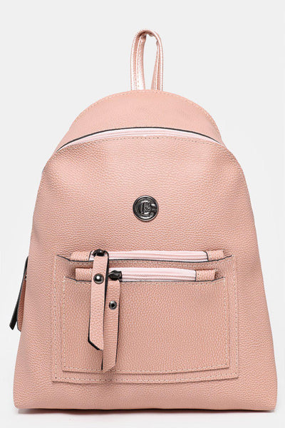 Double Zip Pocket Pink Backpack-SinglePrice