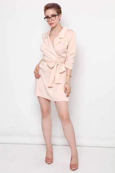 V-Neck Nude Satin Faux Wrap Dress-SinglePrice