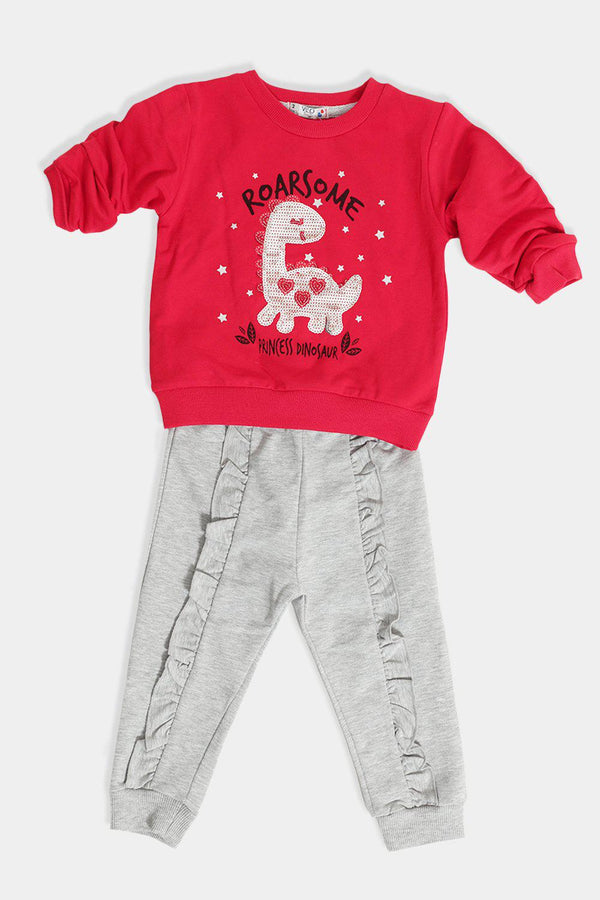 Pomegranate Sequinned Dinosaur Baby Girl Set - SinglePrice