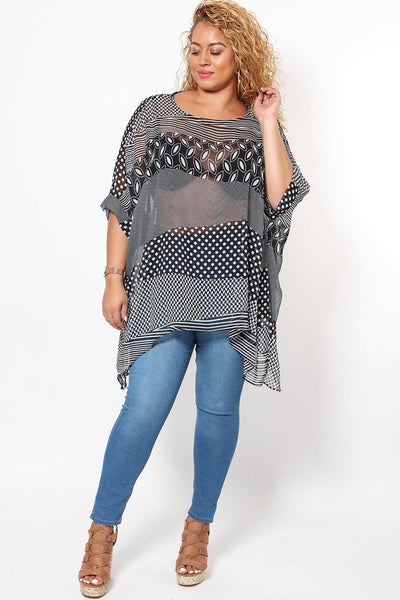 Mixed Print Sheer Batwing Blouse-SinglePrice