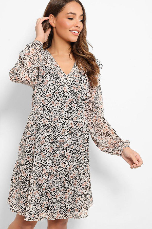 Peach Floral And Leopard Print Chiffon Tea Dress - SinglePrice