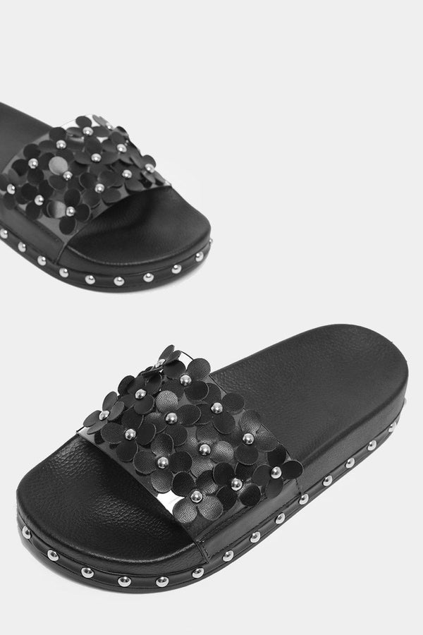 Black Flowers Embellished Transparent Strap Sliders-SinglePrice