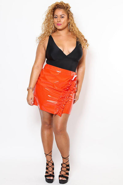 Patent PU Orange Mini Skirt-SinglePrice