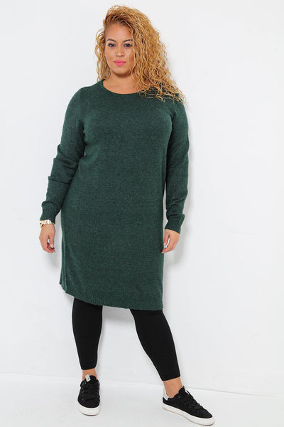 Super Soft Knit Green Knitted Dress