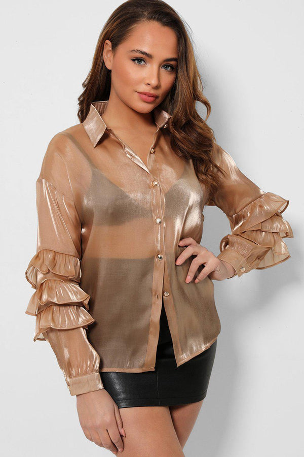 Taupe Layered Sleeves Silky Organza Shirt - SinglePrice