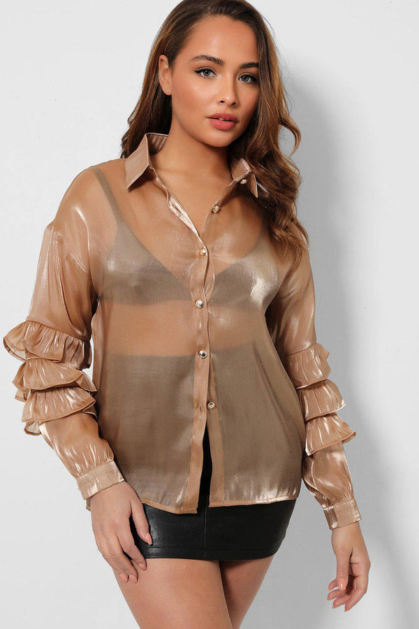 Taupe Layered Sleeves Silky Organza Shirt-SinglePrice