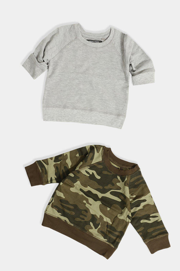 Camo And Grey Pack Of 2 Kids Sweatshirts - SinglePrice