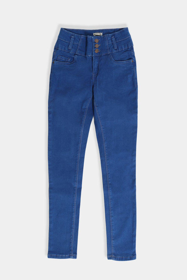 Royal Blue Denim High Waisted Girls Jeans - SinglePrice