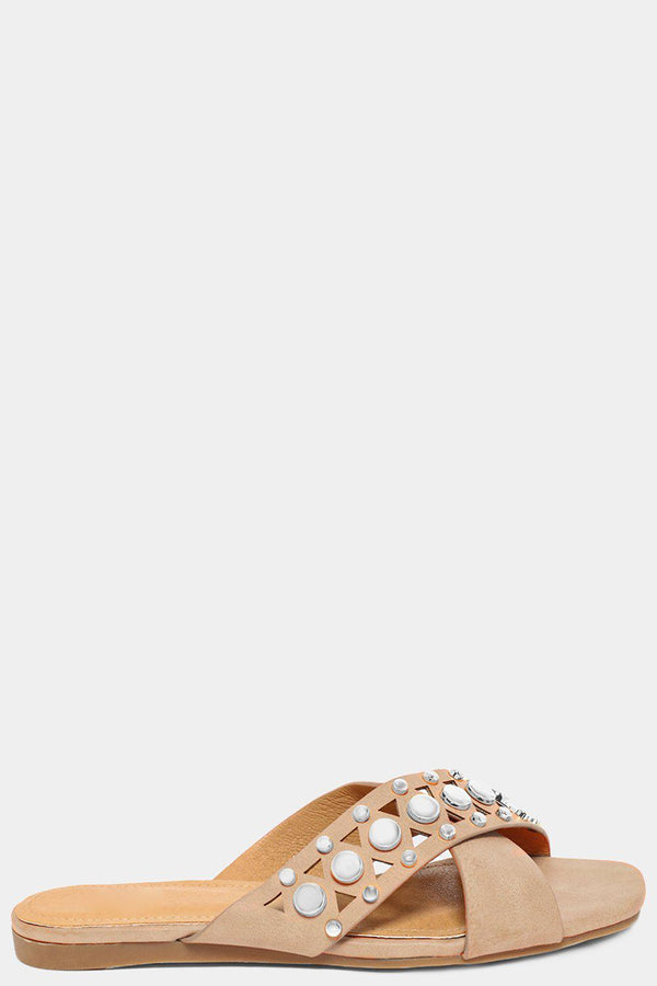 Apricot Crossover Studded Vegan Leather Straps Sliders - SinglePrice