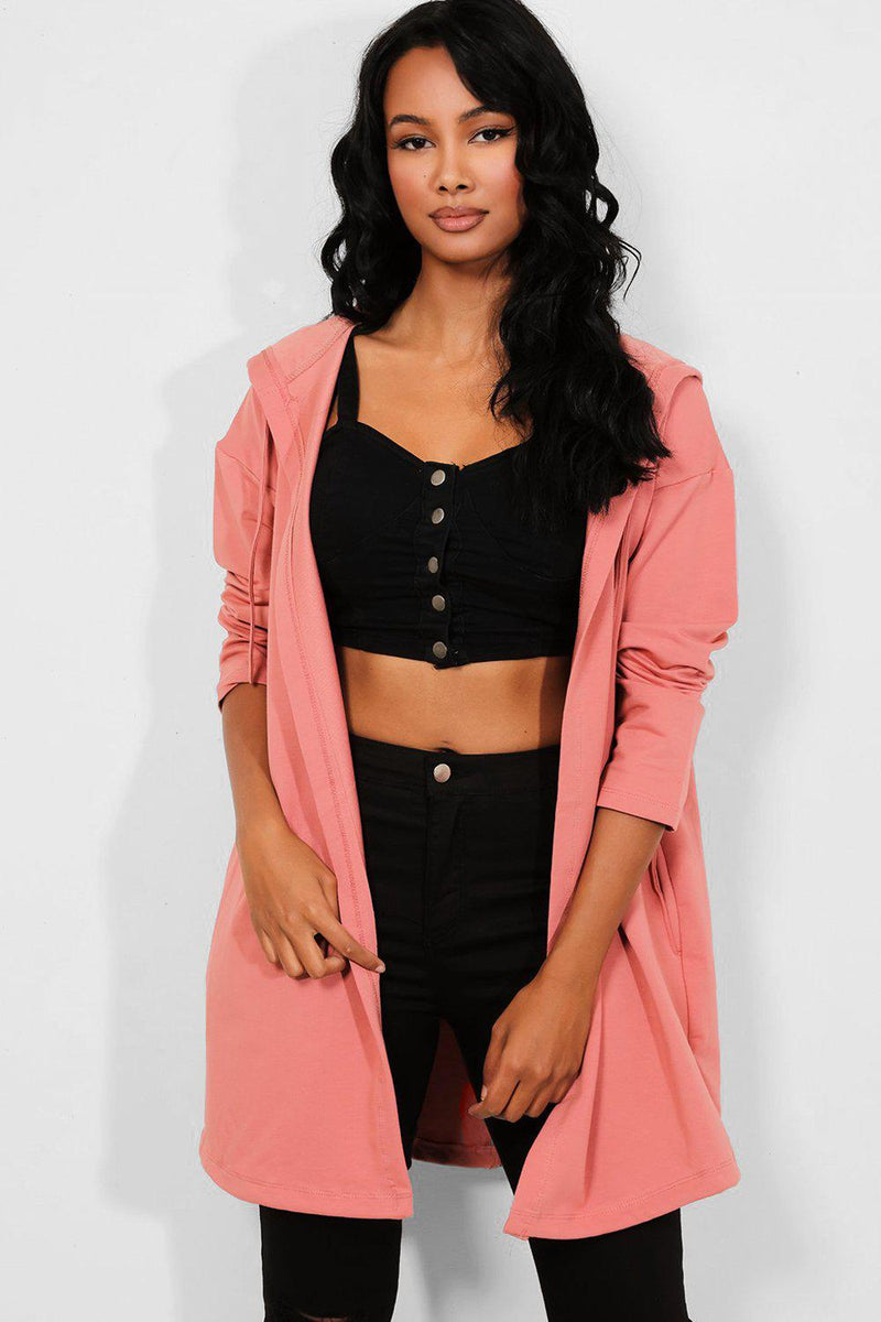 Pink Hooded Sequinned Wings Open Cardigan - SinglePrice