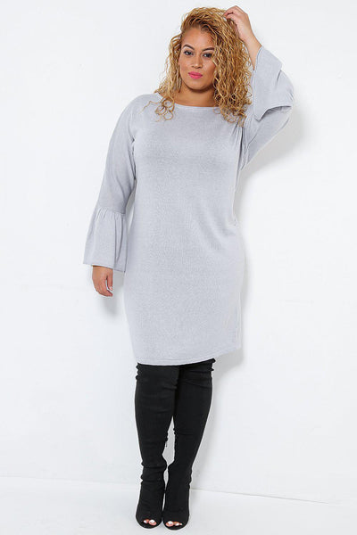 Bell Sleeve Grey Knitted Dress-SinglePrice