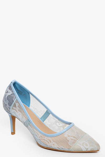 Blue Lace Mid Heel Pumps-SinglePrice