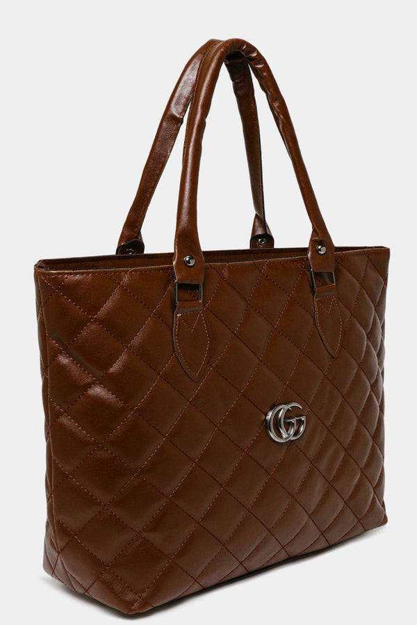 Brown Quilted Large Tote-SinglePrice
