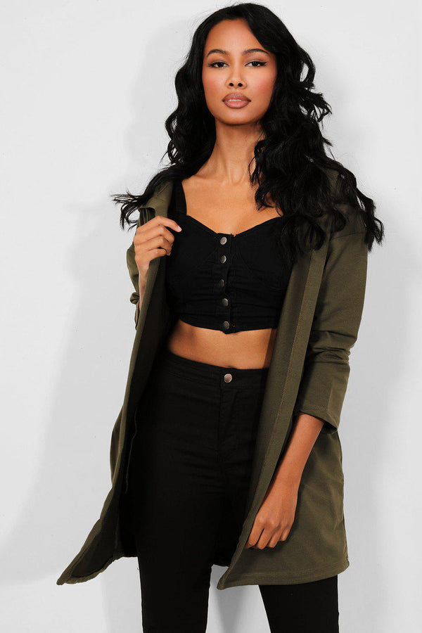 Khaki Hooded Sequinned Wings Open Cardigan - SinglePrice