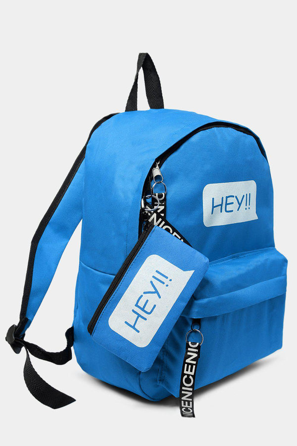 Light Blue HEY Slogan Large Canvas Backpack-SinglePrice