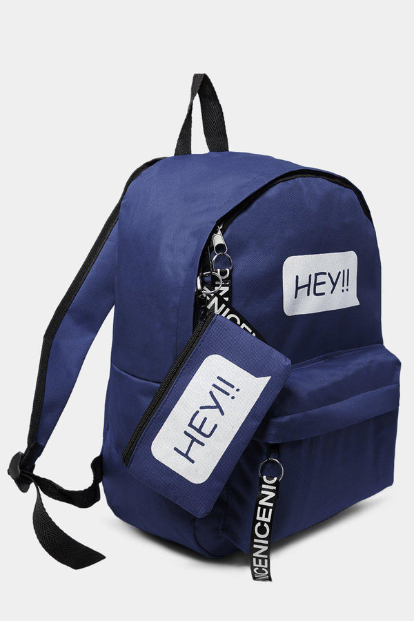 Navy HEY Slogan Large Canvas Backpack-SinglePrice