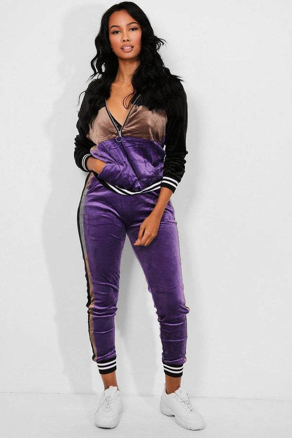 Purple Black Crushed Velour Pull Ring Zipper Tracksuit-SinglePrice