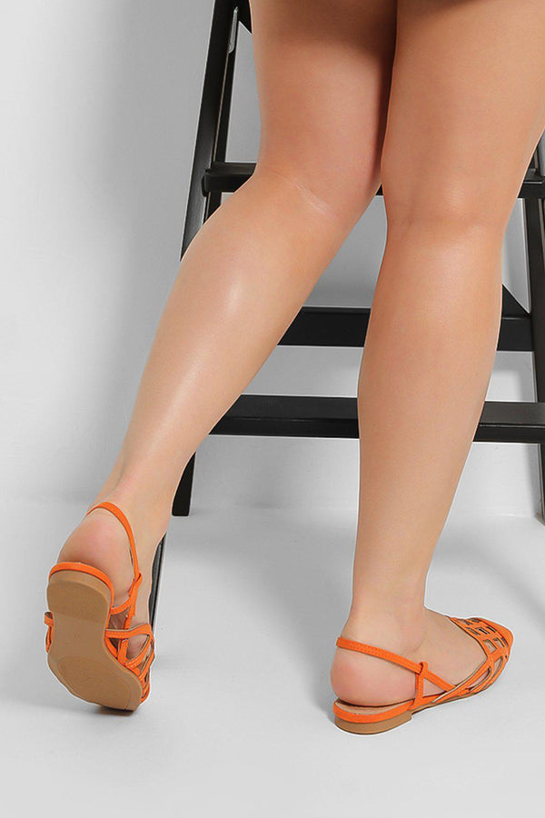 Orange Caged Sling Back Sandals - SinglePrice