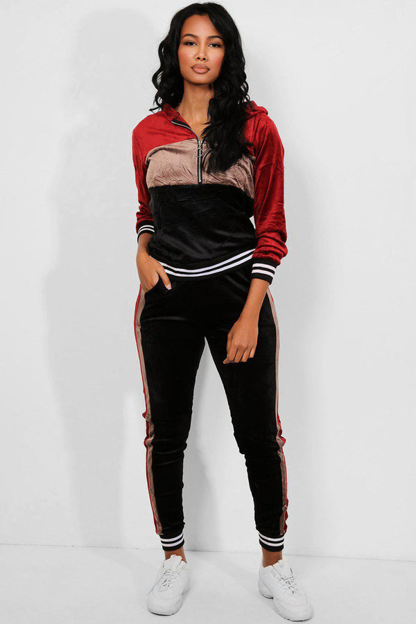 Red Taupe Crushed Velour Pull Ring Zipper Tracksuit-SinglePrice