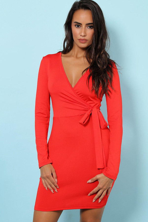 Red Wrap Front Bodycon Dress
