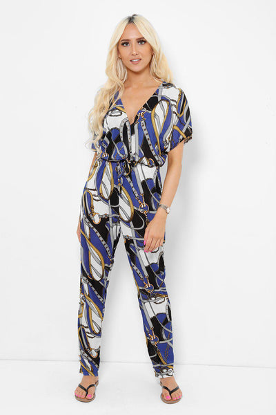 Equestrian Print Blue Jumpsuit-SinglePrice