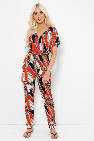 Equestrian Print Red Jumpsuit-SinglePrice