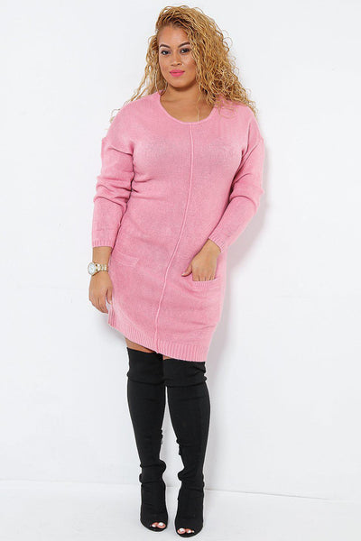 Front Seam Pink Jumper Dress With Pockets-SinglePrice