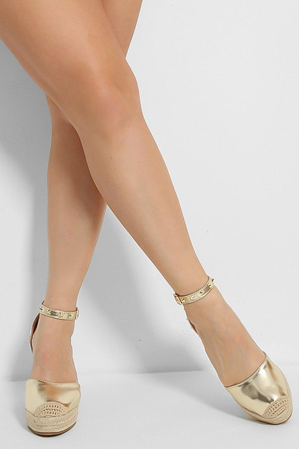 Gold Spike Studs Espadrille Wedge Sandals - SinglePrice