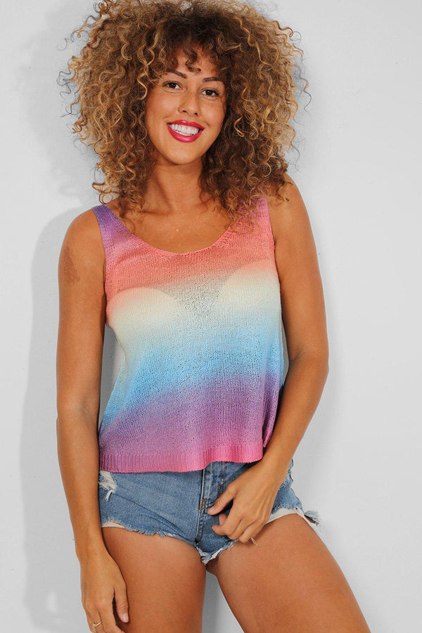 Multicolour Ombre Knitted Cami Top - SinglePrice