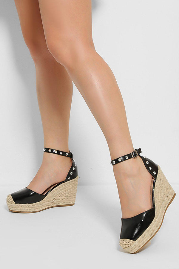 Black Spike Studs Espadrille Wedge Sandals - SinglePrice