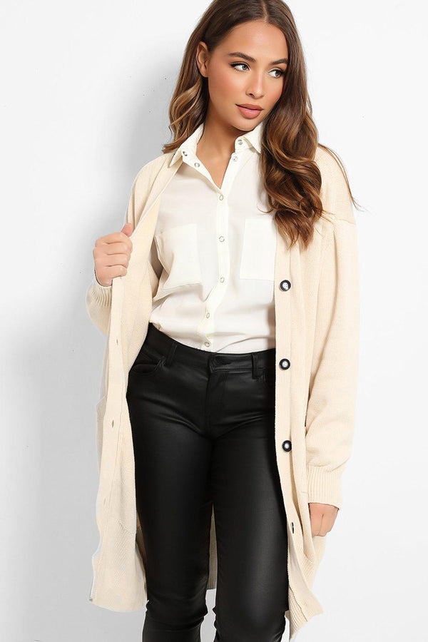 Cream Flat Knit Buttoned Front Longline Cardigan - SinglePrice