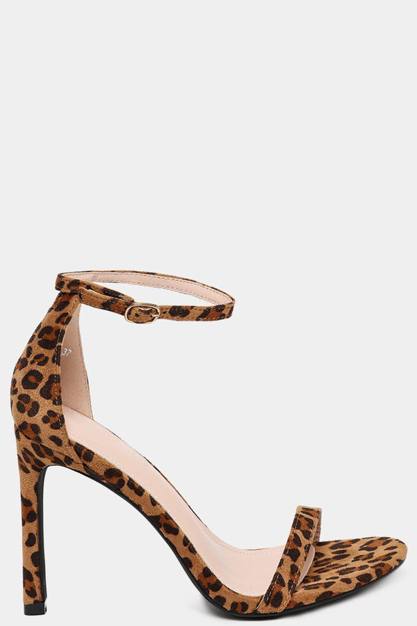 Leopard Print Thin Straps Barely There Heels-SinglePrice