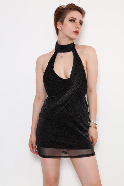 Black Lurex Halter Neck Mini Dress-SinglePrice