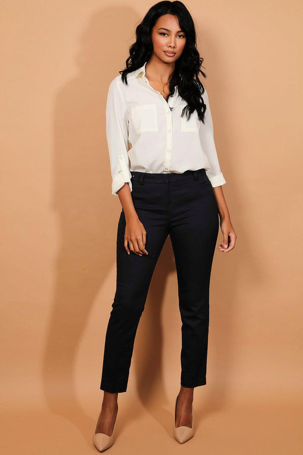 Navy Tailored Cigarette Pants-SinglePrice
