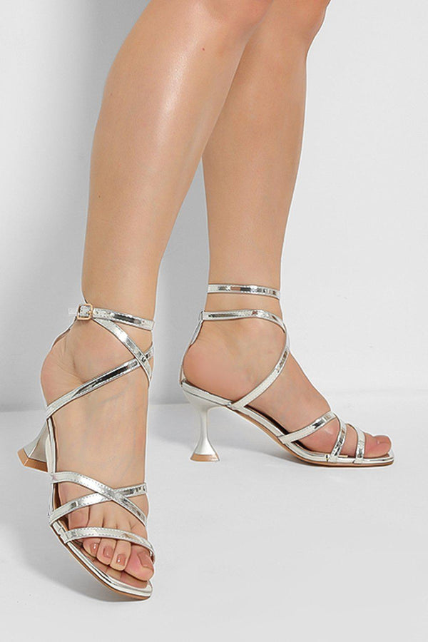 Silver Crossover Straps Pyramid Heel Sandals - SinglePrice