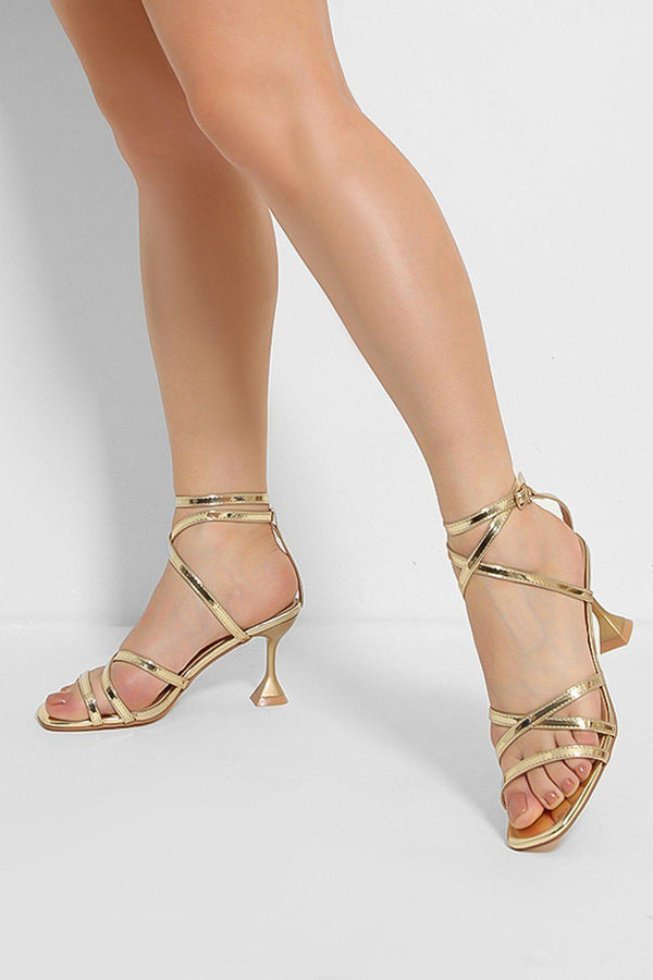 Gold Crossover Straps Pyramid Heel Sandals - SinglePrice