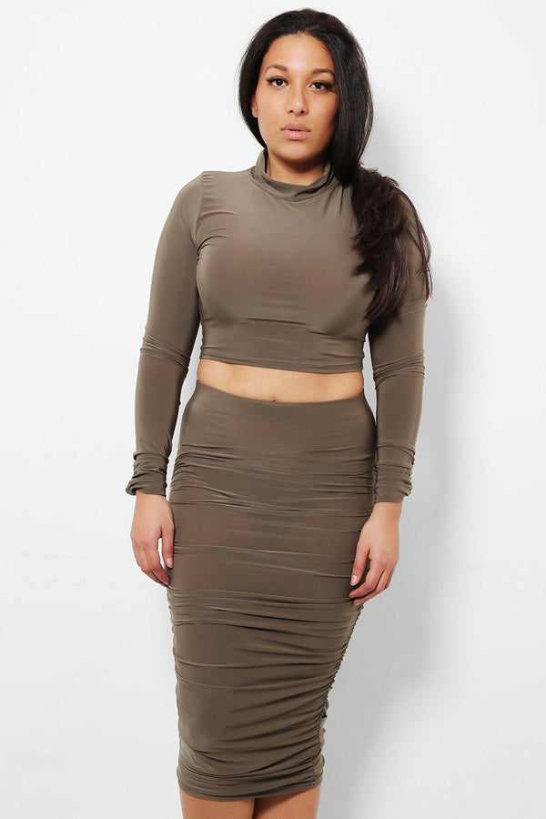 Khaki Ruched Midi Skirt & Cropped Top Set-SinglePrice