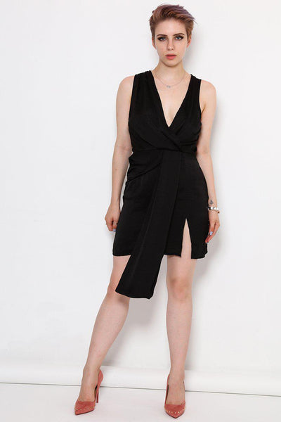 Black V-Neck Faux Wrap Dress-SinglePrice