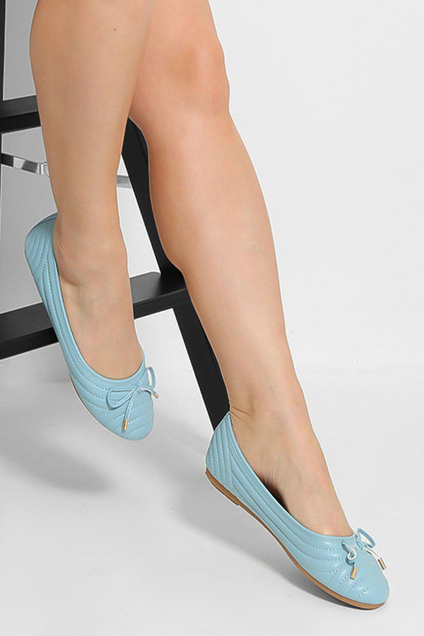 Blue Bow Detail Quilted Flats-SinglePrice