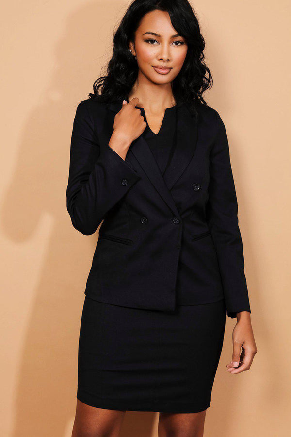 Navy Textured Smart Notch Dress And Blazer Set-SinglePrice