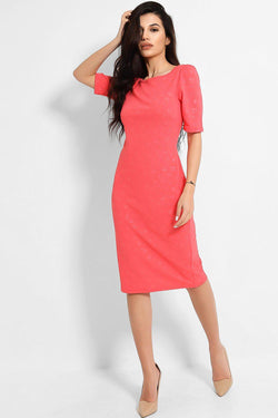 Coral Floral Emboss Bodycon Midi Dress - SinglePrice