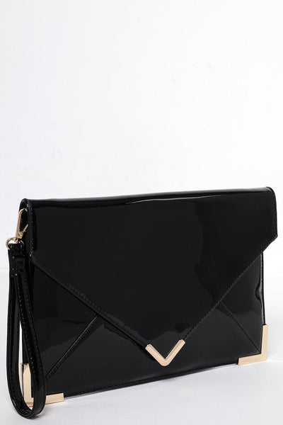 Metal Corners Black Patent PU Envelope Clutch-SinglePrice