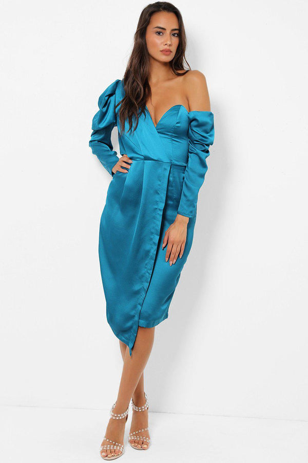 Teal Satin One Off Shoulder Puff Sleeve Midi Dress